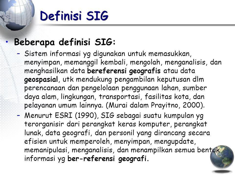 Definisi SIG Beberapa definisi SIG: