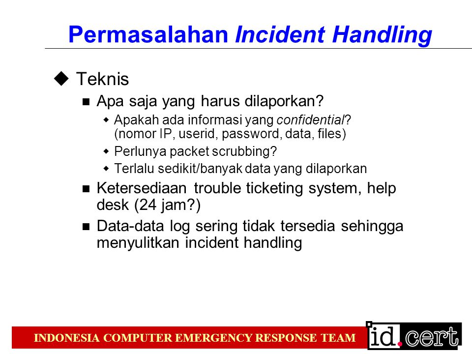 Permasalahan Incident Handling