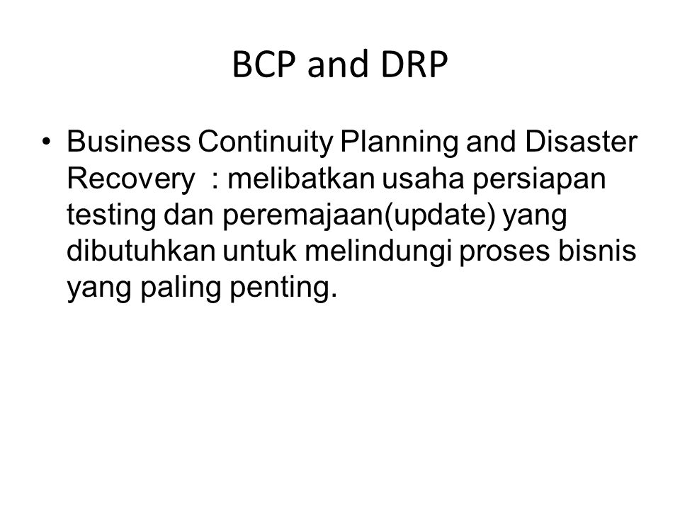 BCP and DRP