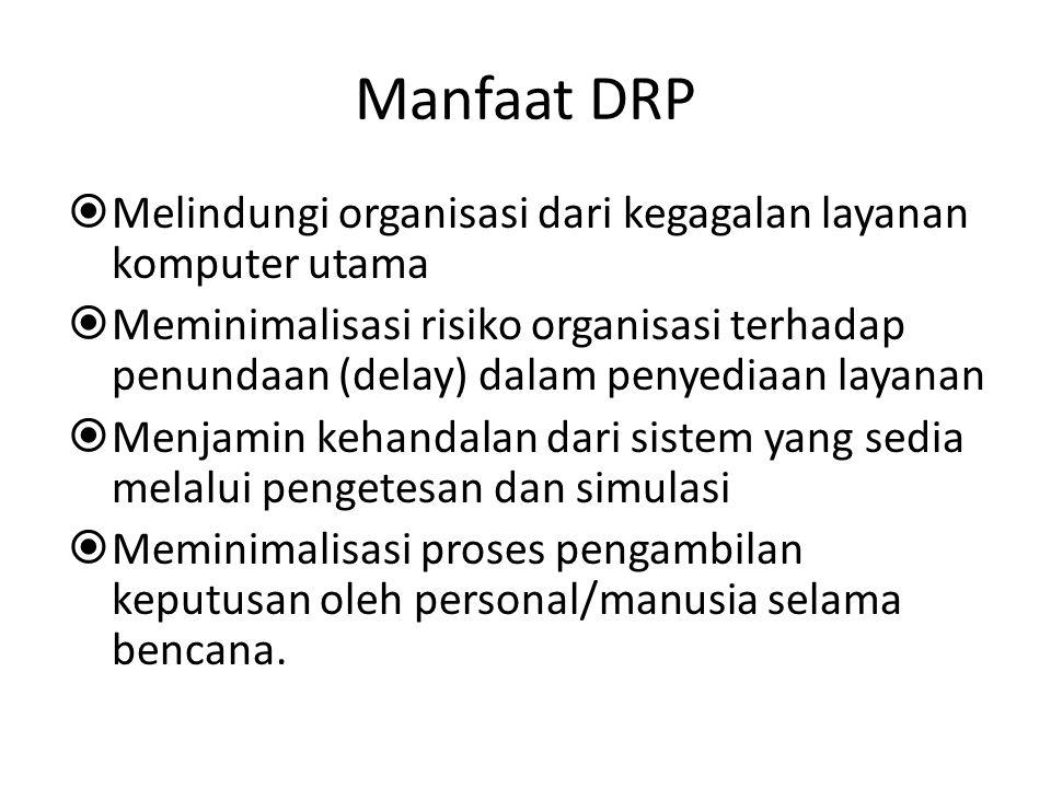 Manfaat DRP Melindungi organisasi dari kegagalan layanan komputer utama.
