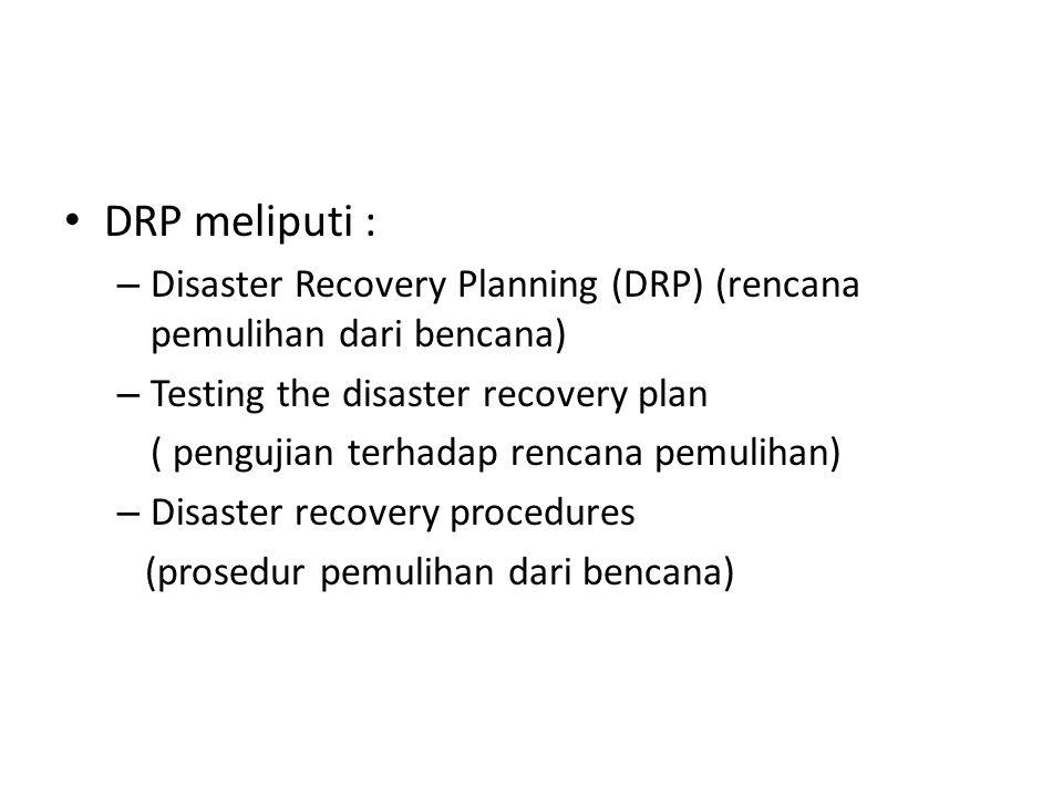 DRP meliputi : Disaster Recovery Planning (DRP) (rencana pemulihan dari bencana) Testing the disaster recovery plan.