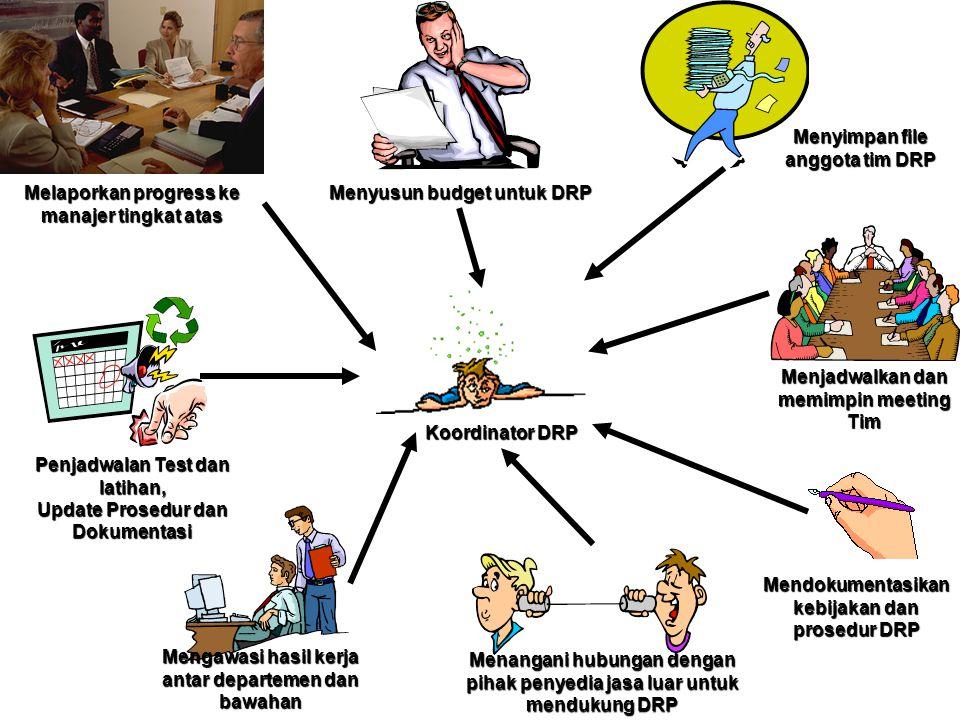 Melaporkan progress ke manajer tingkat atas Menyusun budget untuk DRP