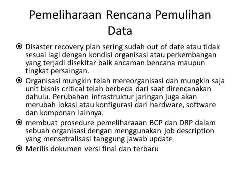 Pemeliharaan Rencana Pemulihan Data