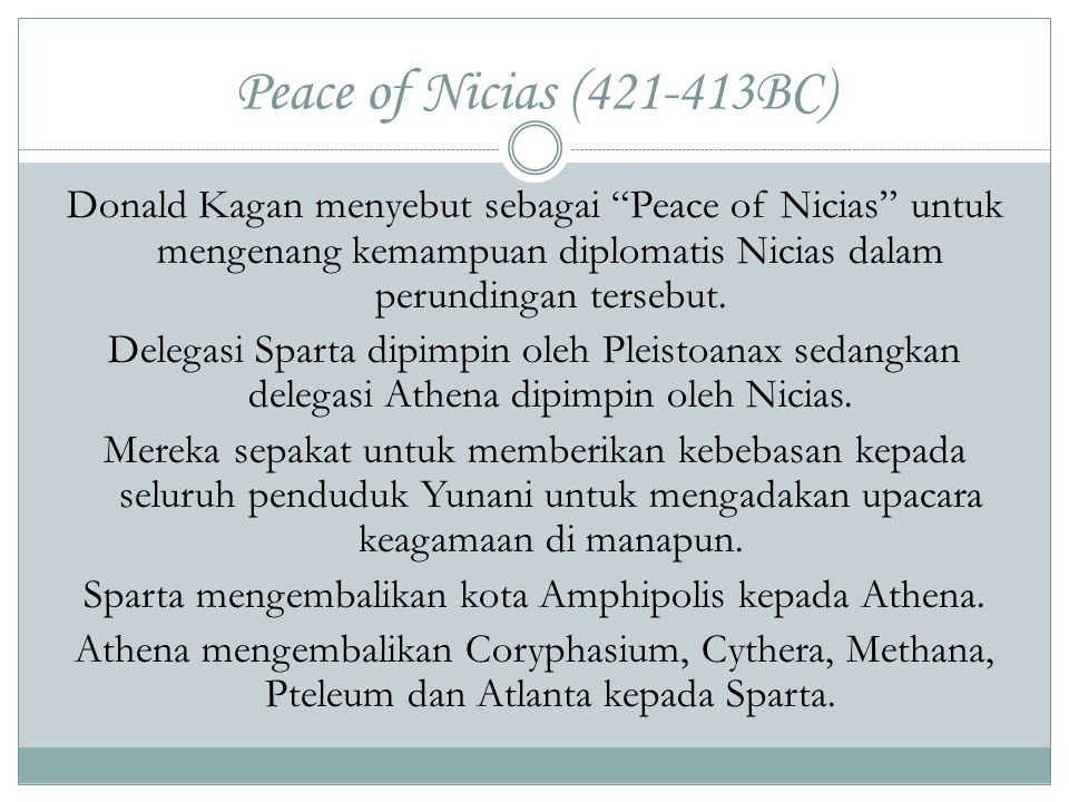 Peace of Nicias (421-413BC)
