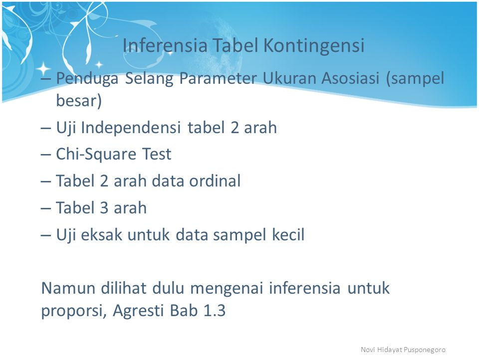 Inferensia Tabel Kontingensi