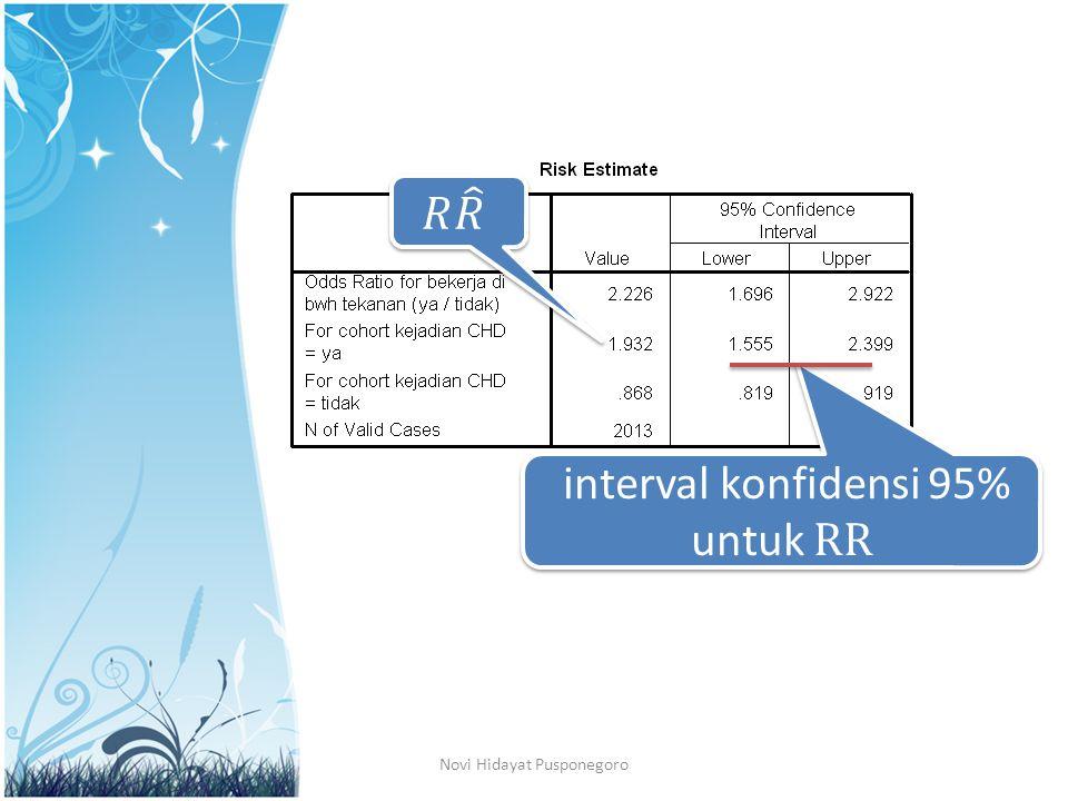 interval konfidensi 95% untuk RR