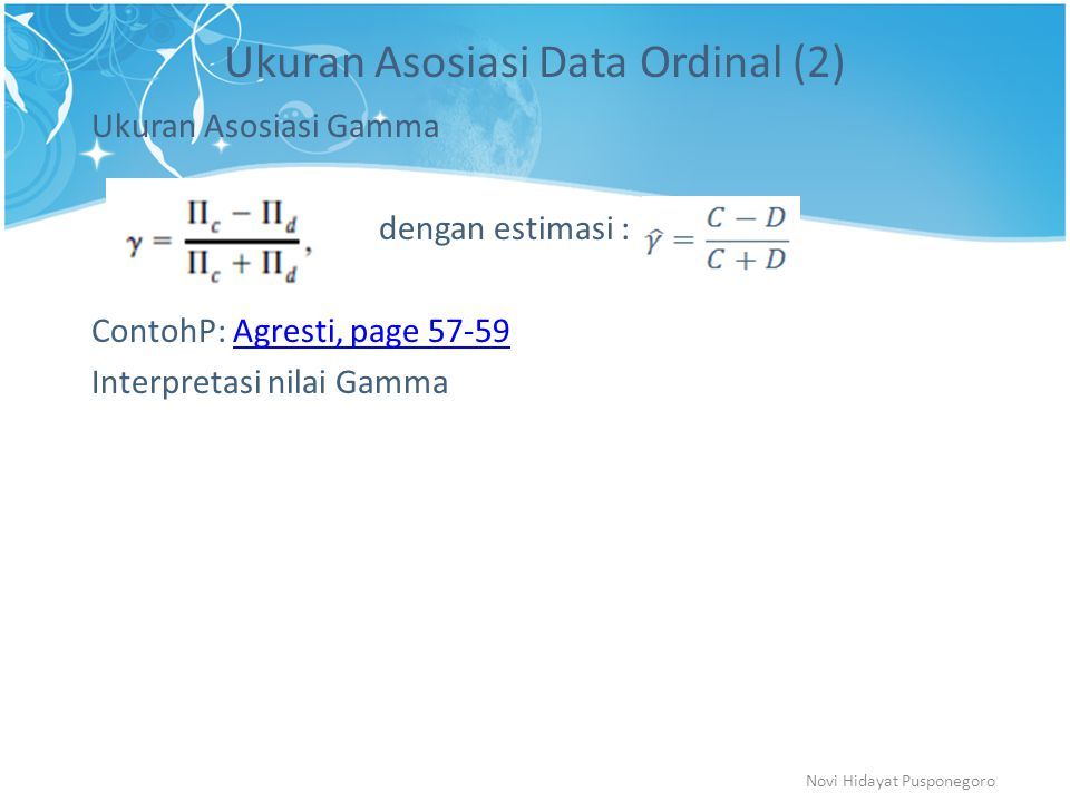 Ukuran Asosiasi Data Ordinal (2)