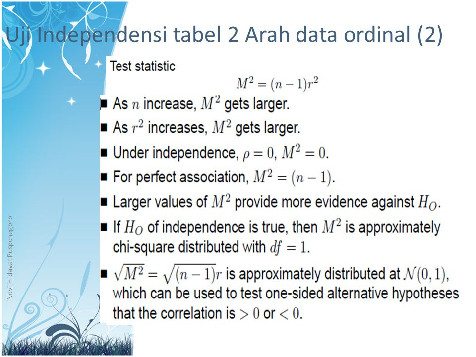 Uji Independensi tabel 2 Arah data ordinal (2)