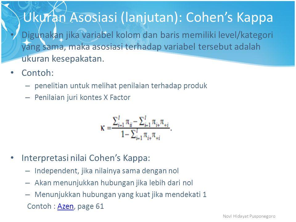 Ukuran Asosiasi (lanjutan): Cohen's Kappa