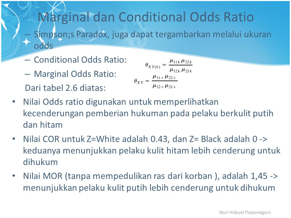 Marginal dan Conditional Odds Ratio