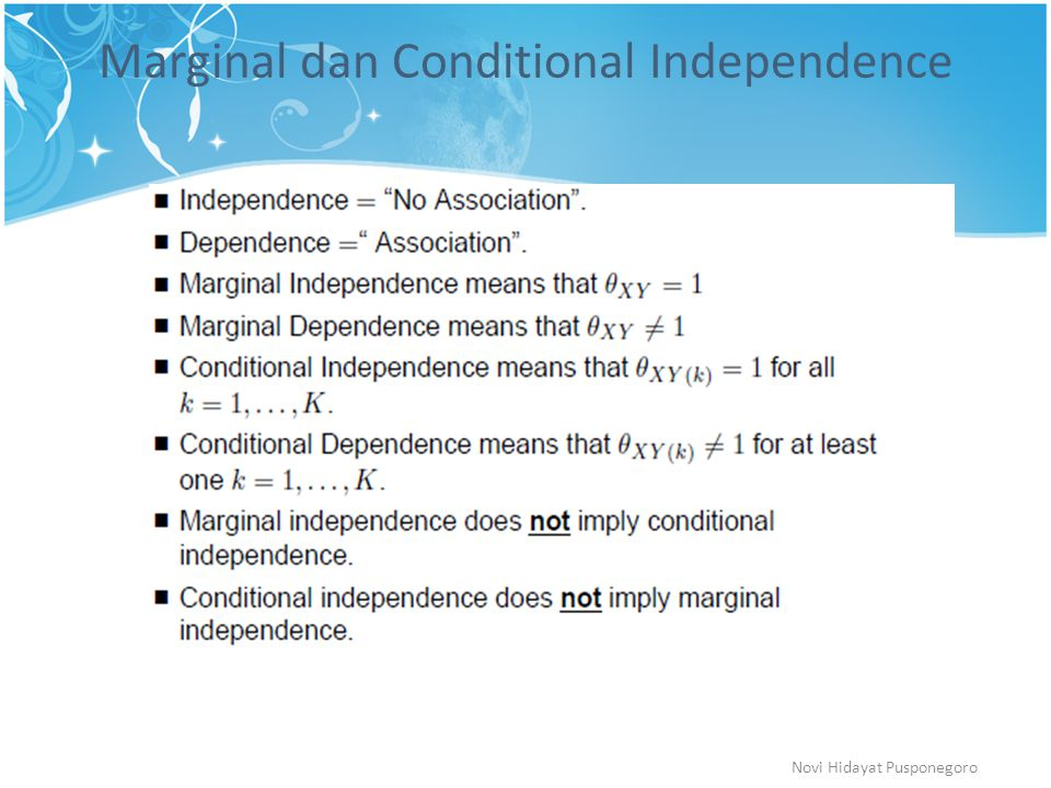 Marginal dan Conditional Independence