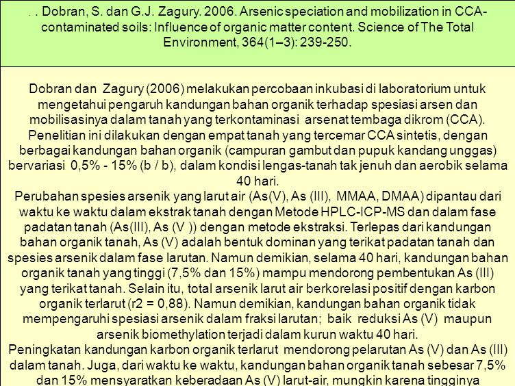 . . Dobran, S. dan G.J. Zagury. 2006. Arsenic speciation and mobilization in CCA-contaminated soils: Influence of organic matter content. Science of The Total Environment, 364(1–3): 239-250.