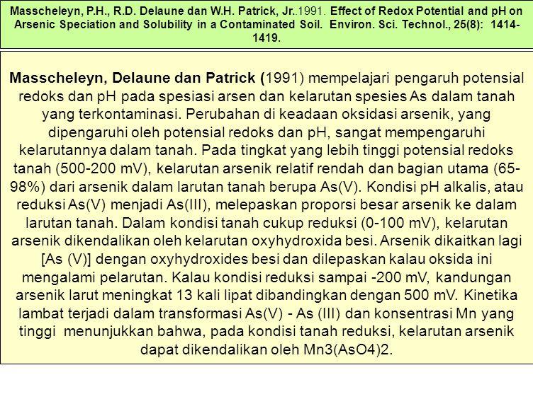 Masscheleyn, P. H. , R. D. Delaune dan W. H. Patrick, Jr. 1991