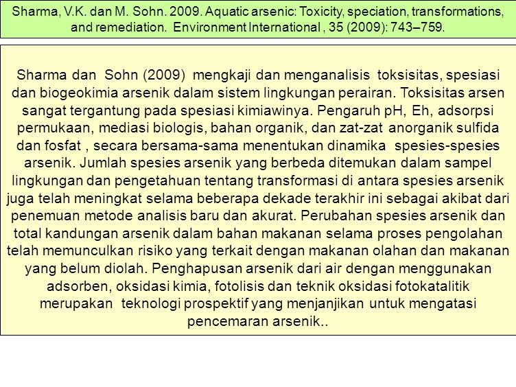 Sharma, V.K. dan M. Sohn. 2009. Aquatic arsenic: Toxicity, speciation, transformations, and remediation. Environment International , 35 (2009): 743–759.
