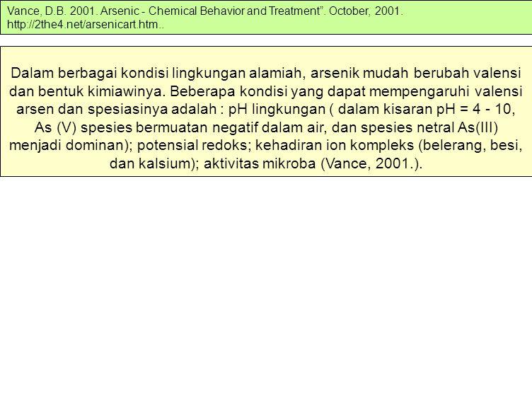 Vance, D. B. 2001. Arsenic - Chemical Behavior and Treatment