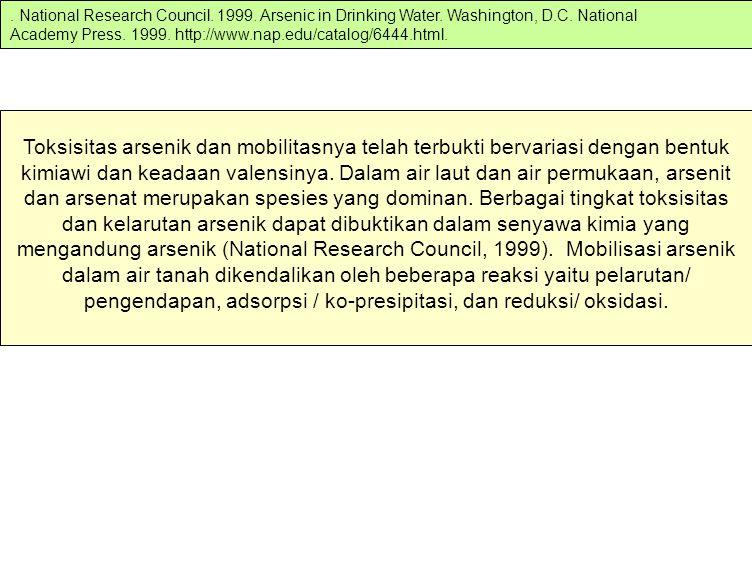 National Research Council. 1999. Arsenic in Drinking Water