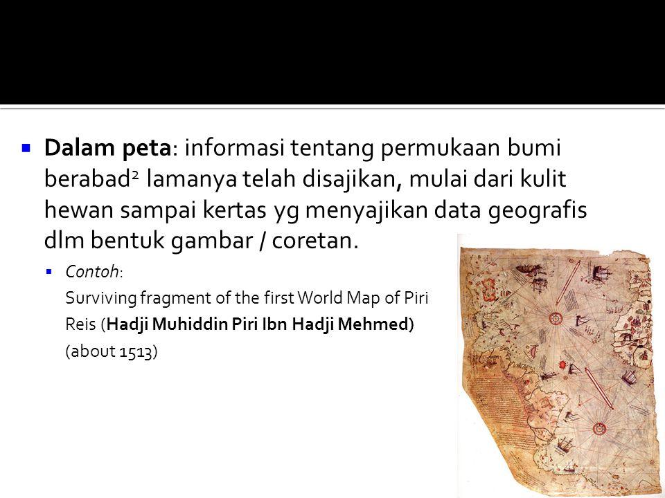 Dalam peta: informasi tentang permukaan bumi berabad2 lamanya telah disajikan, mulai dari kulit hewan sampai kertas yg menyajikan data geografis dlm bentuk gambar / coretan.