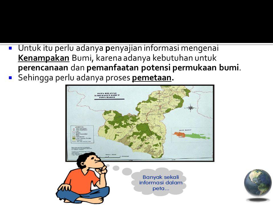 Untuk itu perlu adanya penyajian informasi mengenai Kenampakan Bumi, karena adanya kebutuhan untuk perencanaan dan pemanfaatan potensi permukaan bumi.