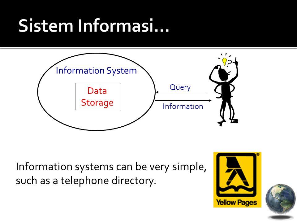 Sistem Informasi… Data Storage. Information System.