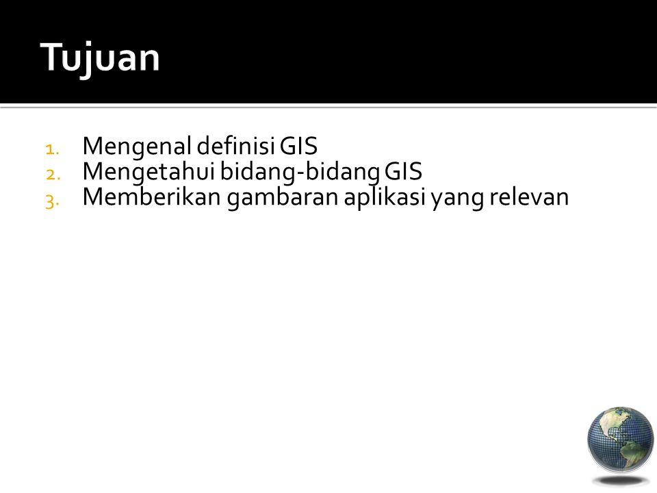 Tujuan Mengenal definisi GIS Mengetahui bidang-bidang GIS