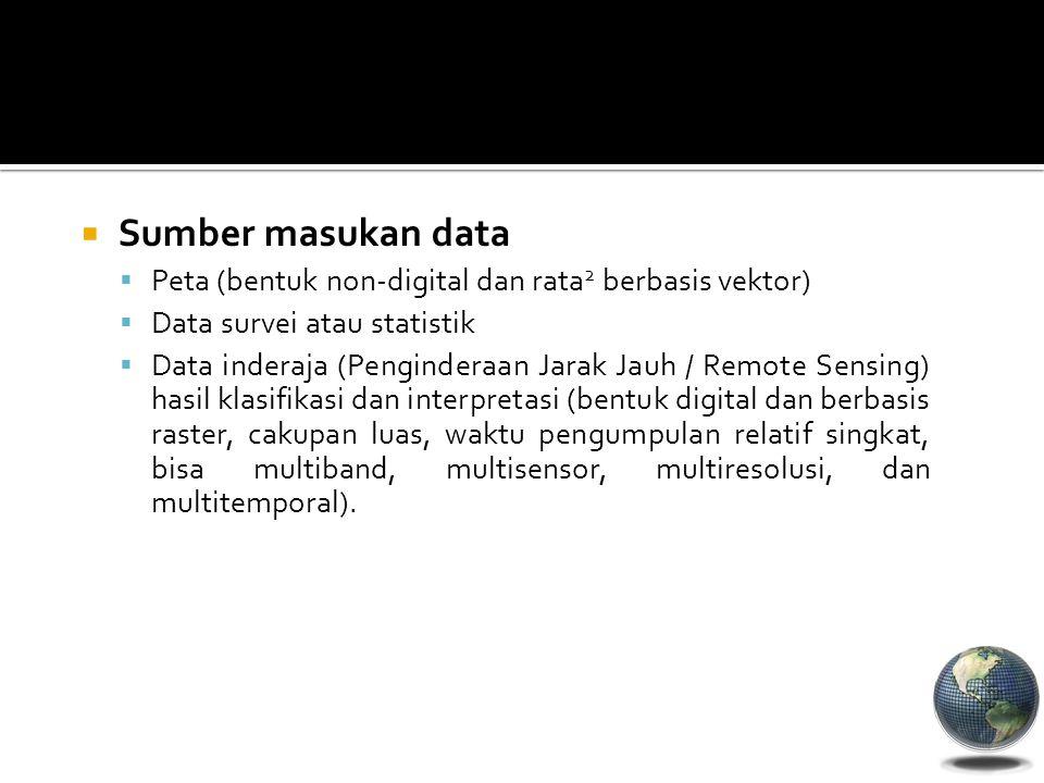 Sumber masukan data Peta (bentuk non-digital dan rata2 berbasis vektor) Data survei atau statistik.