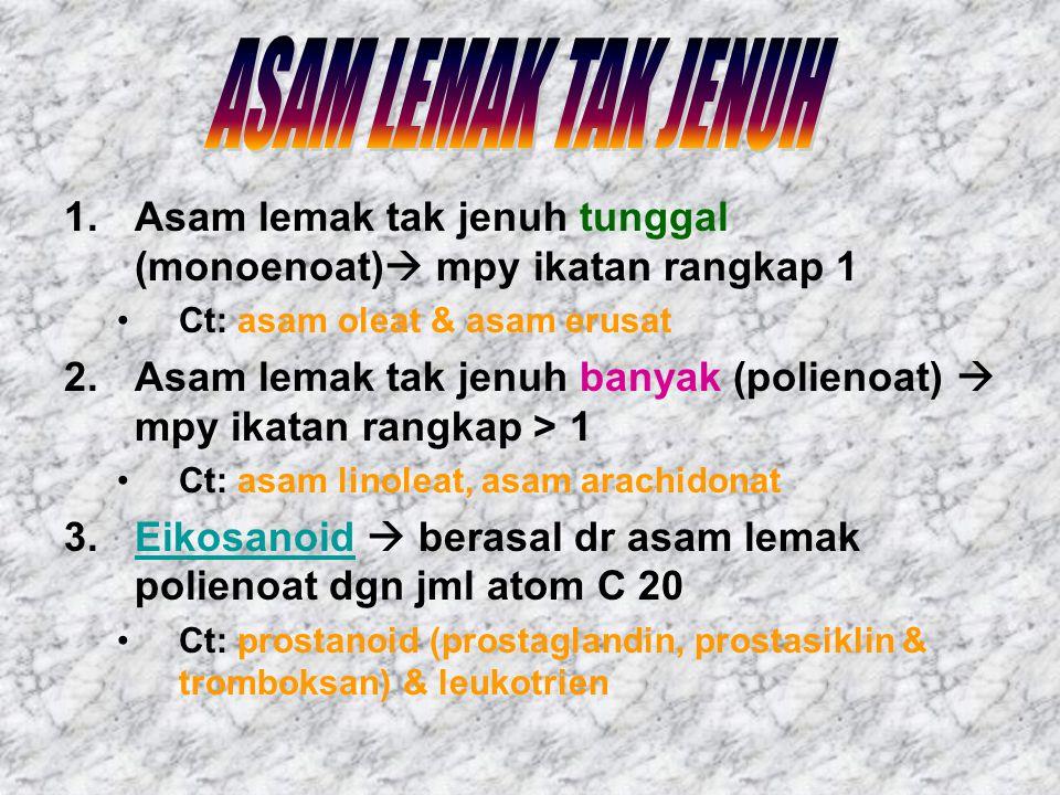 ASAM LEMAK TAK JENUH Asam lemak tak jenuh tunggal (monoenoat) mpy ikatan rangkap 1. Ct: asam oleat & asam erusat.