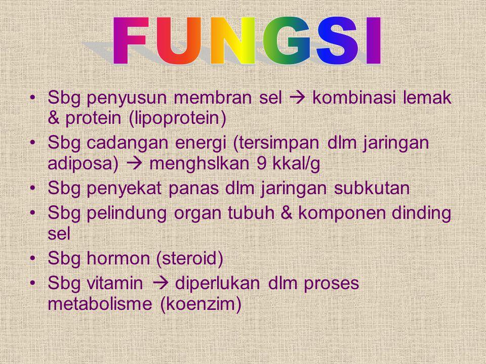 FUNGSI Sbg penyusun membran sel  kombinasi lemak & protein (lipoprotein) Sbg cadangan energi (tersimpan dlm jaringan adiposa)  menghslkan 9 kkal/g.