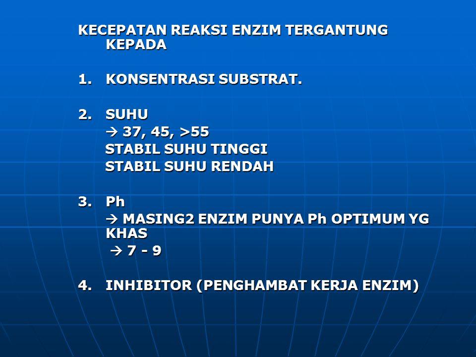 KECEPATAN REAKSI ENZIM TERGANTUNG KEPADA 1. KONSENTRASI SUBSTRAT. 2