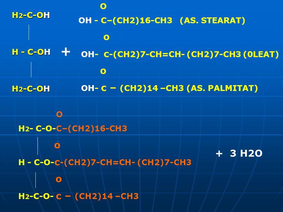+ + 3 H2O O OH - C–(CH2)16-CH3 (AS. STEARAT) H2-C-OH