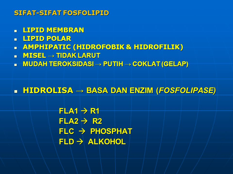 HIDROLISA → BASA DAN ENZIM (FOSFOLIPASE) FLA1  R1 FLA2  R2