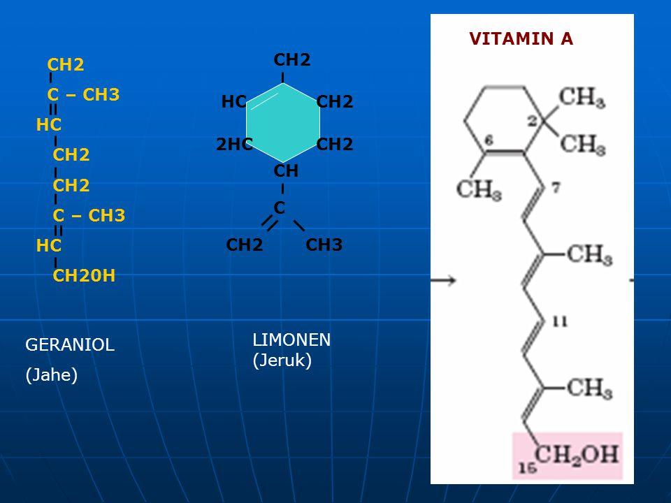 VITAMIN A CH2 CH2 C – CH3 HC CH20H HC CH2 2HC CH2 CH C CH2 CH3 LIMONEN (Jeruk) GERANIOL (Jahe)