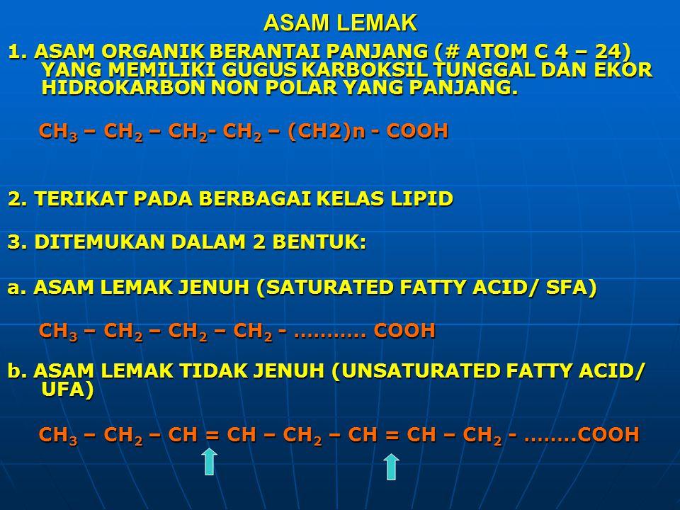 ASAM LEMAK 1. ASAM ORGANIK BERANTAI PANJANG (# ATOM C 4 – 24) YANG MEMILIKI GUGUS KARBOKSIL TUNGGAL DAN EKOR HIDROKARBON NON POLAR YANG PANJANG.