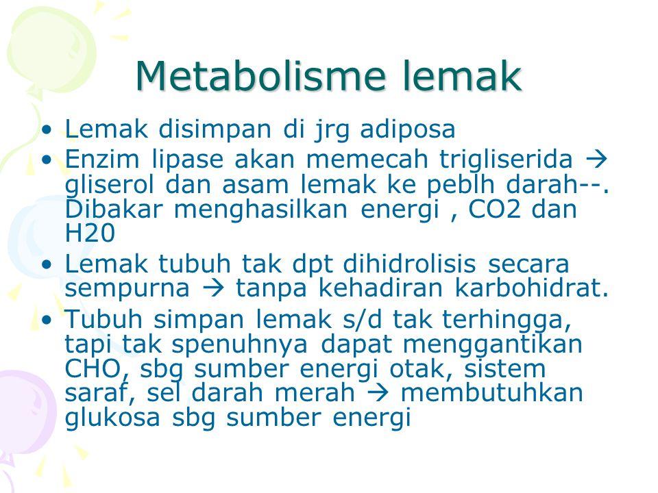 Metabolisme lemak Lemak disimpan di jrg adiposa