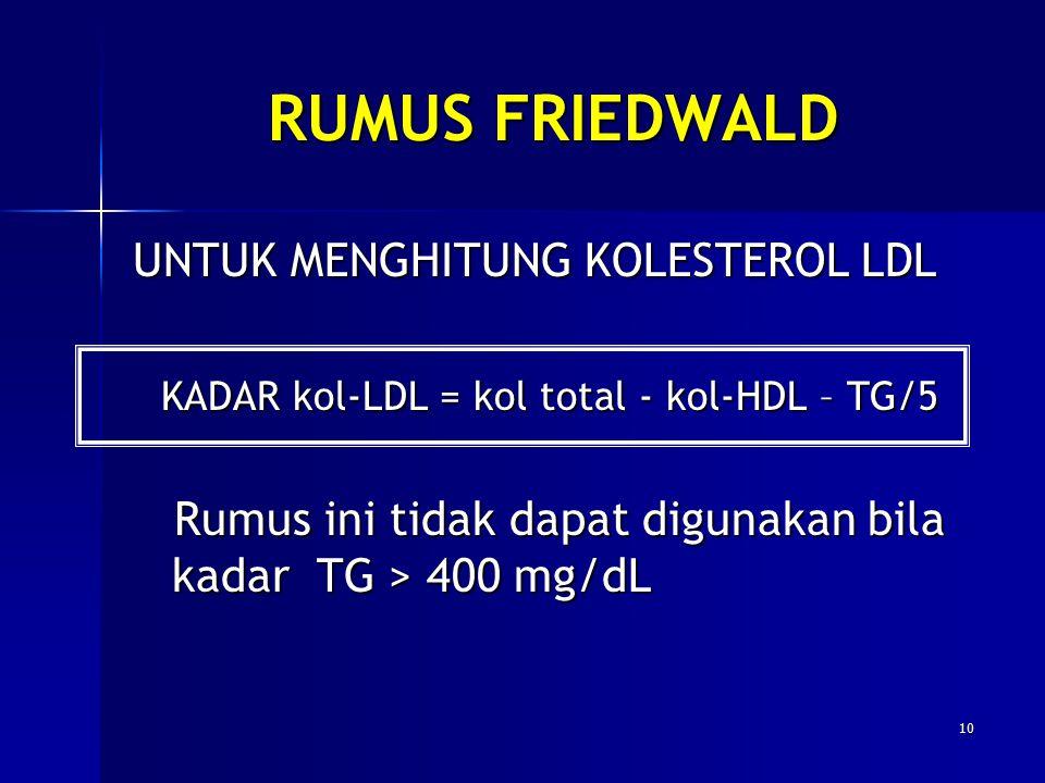 RUMUS FRIEDWALD UNTUK MENGHITUNG KOLESTEROL LDL