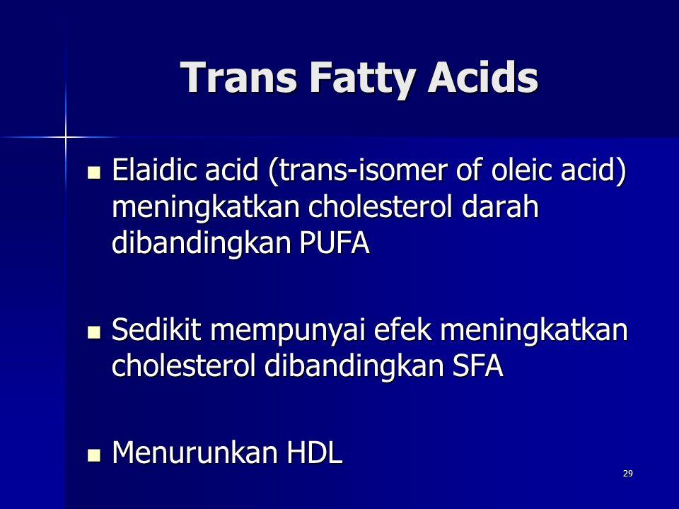 Trans Fatty Acids Elaidic acid (trans-isomer of oleic acid) meningkatkan cholesterol darah dibandingkan PUFA.