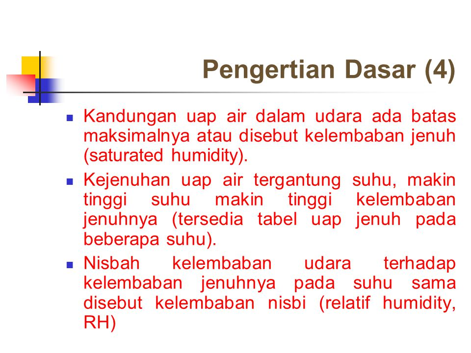 Pengertian Dasar (4) Kandungan uap air dalam udara ada batas maksimalnya atau disebut kelembaban jenuh (saturated humidity).