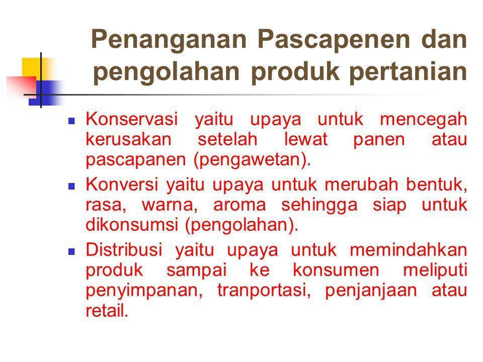 Penanganan Pascapenen dan pengolahan produk pertanian