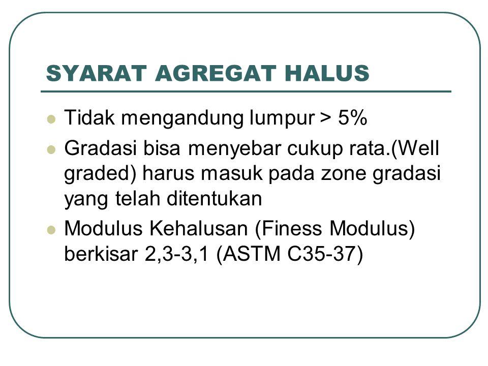 SYARAT AGREGAT HALUS Tidak mengandung lumpur > 5%