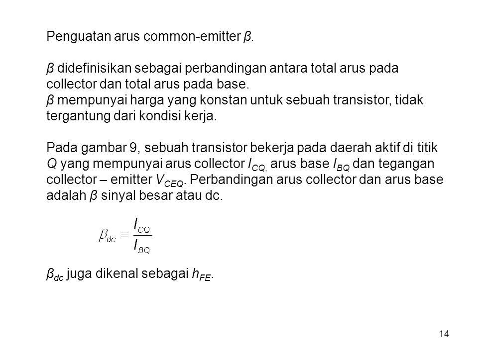 Penguatan arus common-emitter β.