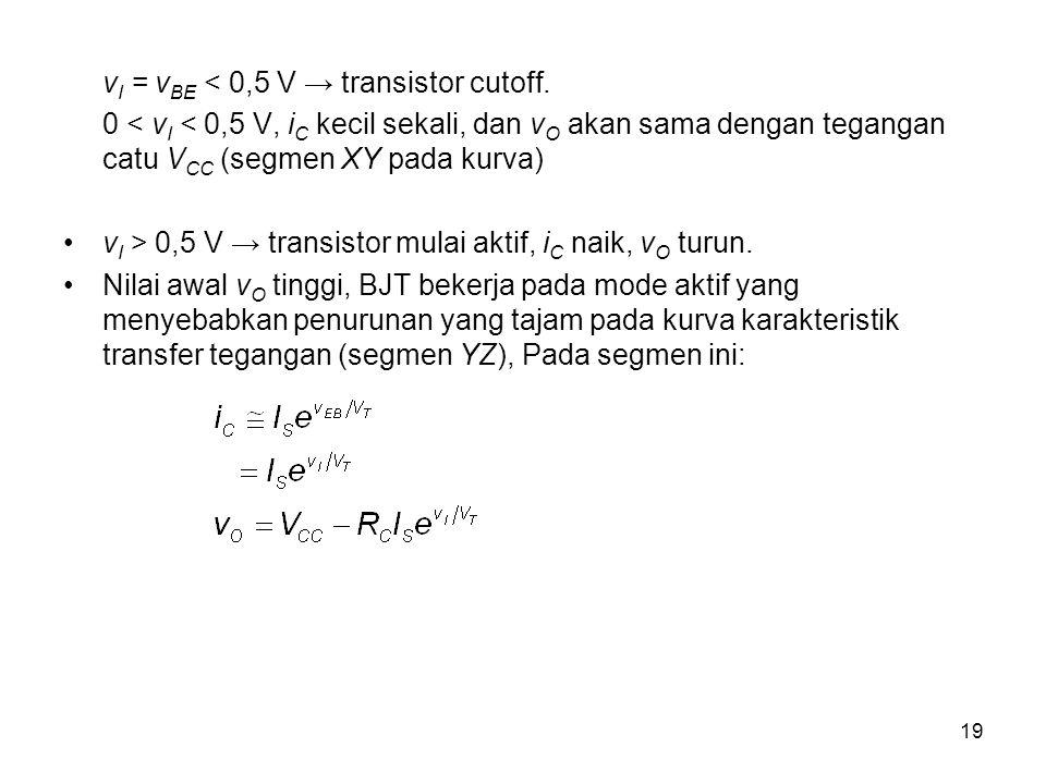 vI = vBE < 0,5 V → transistor cutoff.