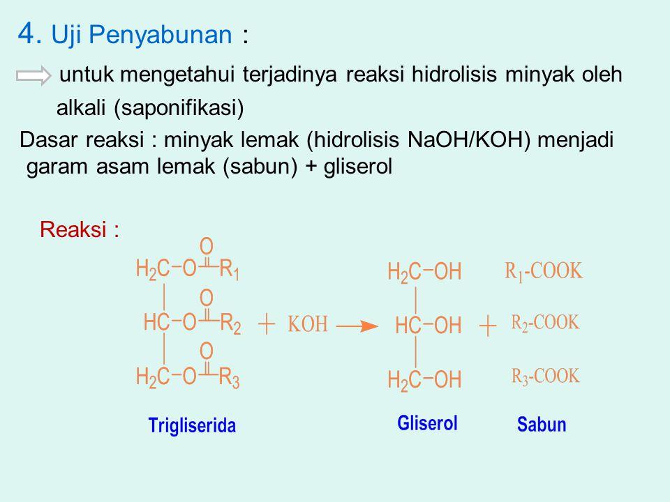 4. Uji Penyabunan : untuk mengetahui terjadinya reaksi hidrolisis minyak oleh. alkali (saponifikasi)
