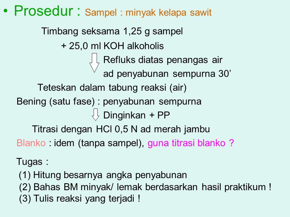 Prosedur : Sampel : minyak kelapa sawit
