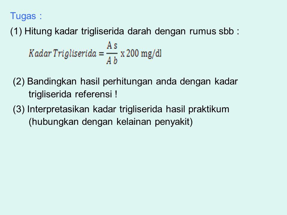 Tugas : (1) Hitung kadar trigliserida darah dengan rumus sbb : (2) Bandingkan hasil perhitungan anda dengan kadar.
