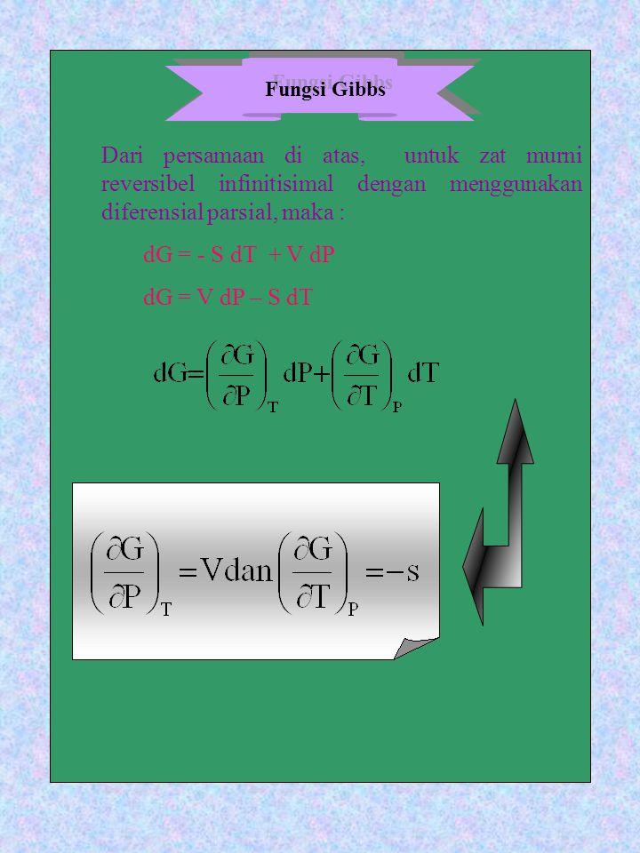 Dari persamaan di atas, untuk zat murni reversibel infinitisimal dengan menggunakan diferensial parsial, maka :