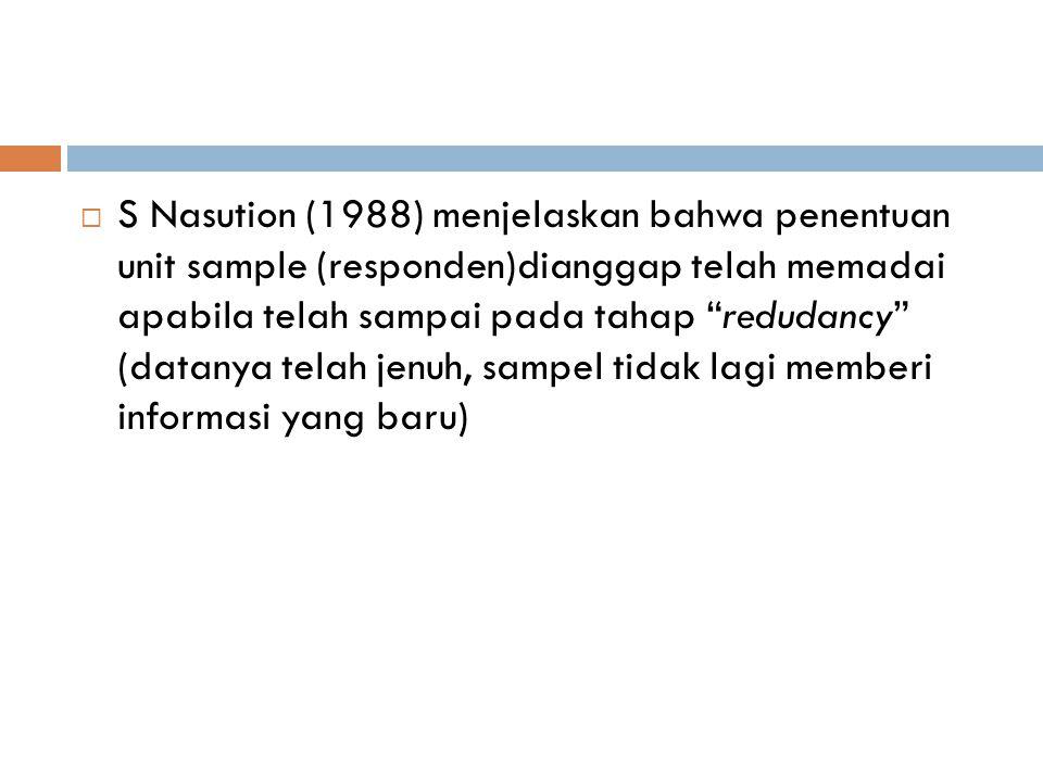 S Nasution (1988) menjelaskan bahwa penentuan unit sample (responden)dianggap telah memadai apabila telah sampai pada tahap redudancy (datanya telah jenuh, sampel tidak lagi memberi informasi yang baru)