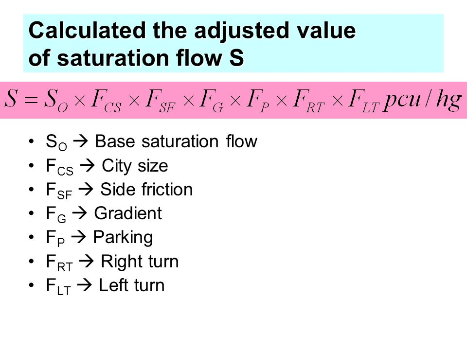 Calculated the adjusted value of saturation flow S