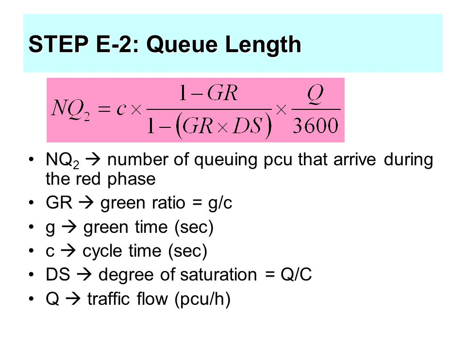 STEP E-2: Queue Length NQ2  number of queuing pcu that arrive during the red phase. GR  green ratio = g/c.