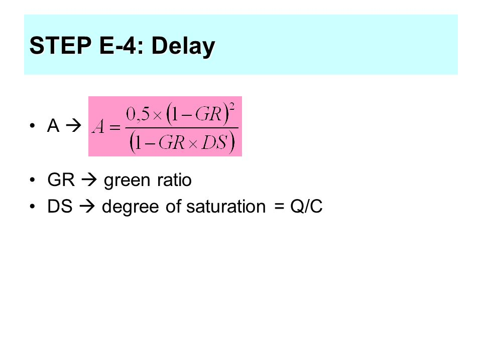 STEP E-4: Delay A  GR  green ratio DS  degree of saturation = Q/C