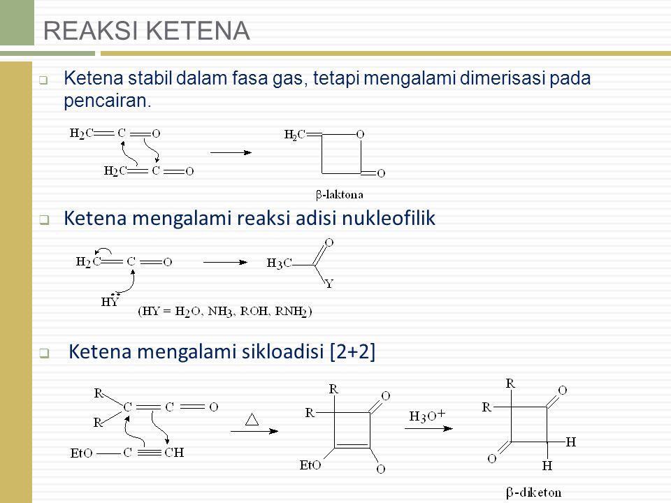 REAKSI KETENA Ketena mengalami reaksi adisi nukleofilik