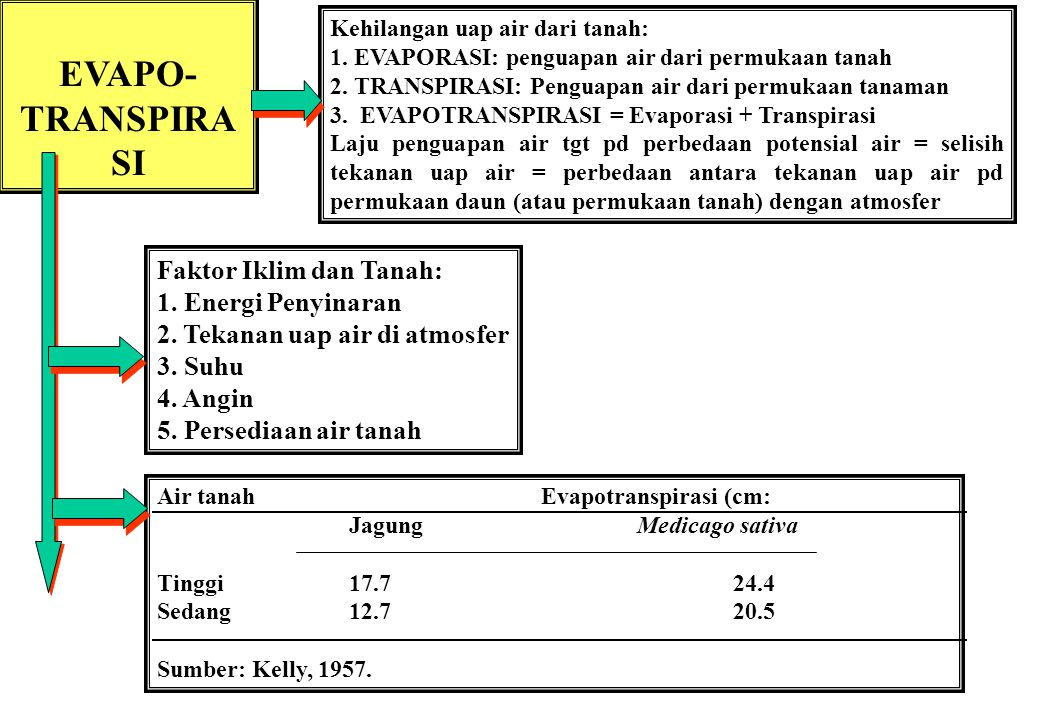 EVAPO-TRANSPIRASI Faktor Iklim dan Tanah: 1. Energi Penyinaran